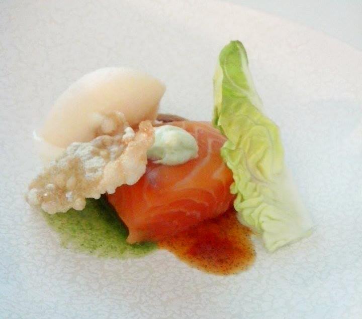 recette saumon cuisson basse température sorbet pamplemousse de floride vinaigrette vanille chef étoilé croustillant jasmin