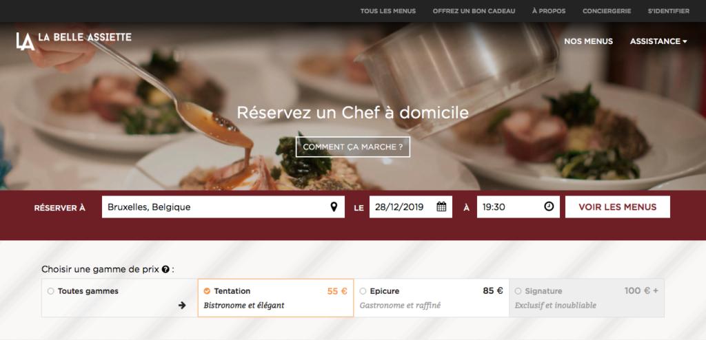 La Belle Assiette - Réserver un Chef à domicile parmi 3 gammes de menus