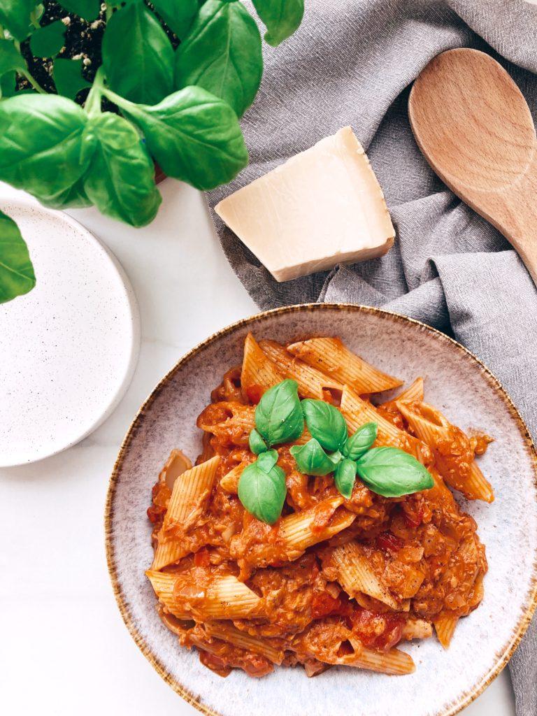 recette-pâtes-thon-tomates-crème-alpro-cooking-light-assiette