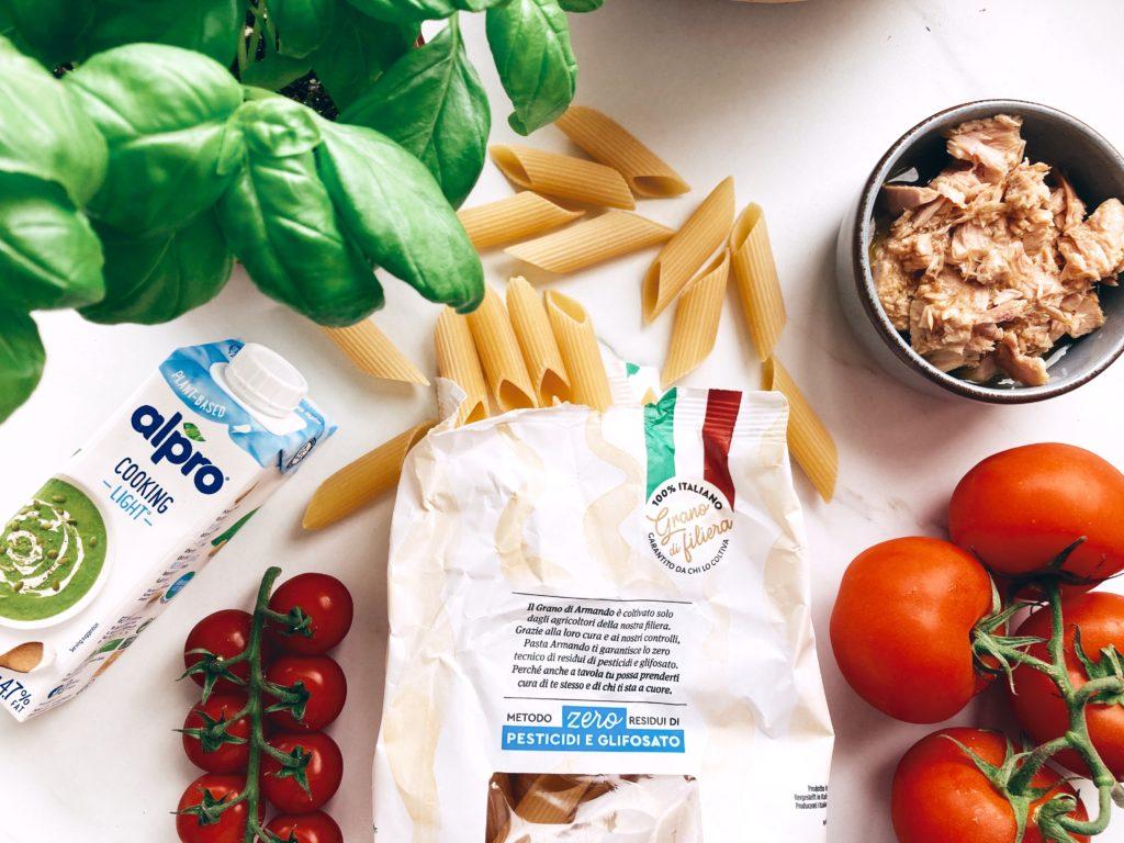 recette-pâtes-thon-tomates-crème-alpro-cooking-light-ingrédients